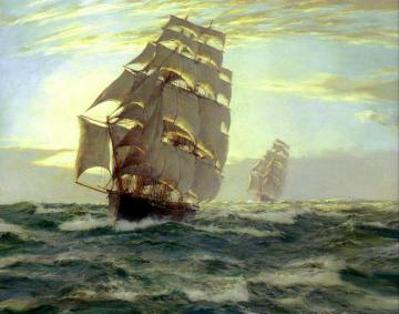 Cutty Sark And Thermopylae Artwork by Montague Dawson