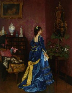 The Blue Dress Artwork by Auguste Toulmouche