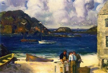Fishing Harbor, Monhegan Island Artwork by George Wesley Bellows