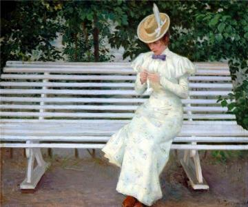 Lady on a Bench Artwork by Paul Gustave Fischer