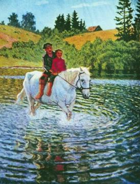 Children on a Horse Artwork by Nikolai Petrovich Bogdanov-belsky