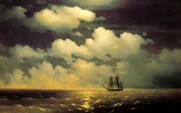 Meeting of the Brig Mercury with the Russian Squadron After the Defeat of Two Turkish Battleships. Artwork by Ivan Constantinovich Aivazovsky