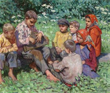 Cither Playing Artwork by Nikolai Petrovich Bogdanov-belsky