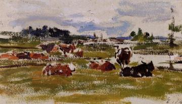 Cows in Pasture Artwork by Eugène-Louis Boudin