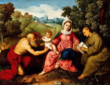 Madonna and Child with Saint Jerome and Saint Francis Artwork by Paris Bordone
