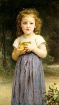 Little Girl Holding Apples Artwork by William Adolphe Bouguereau
