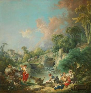 Washerwomen Artwork by Francois Boucher