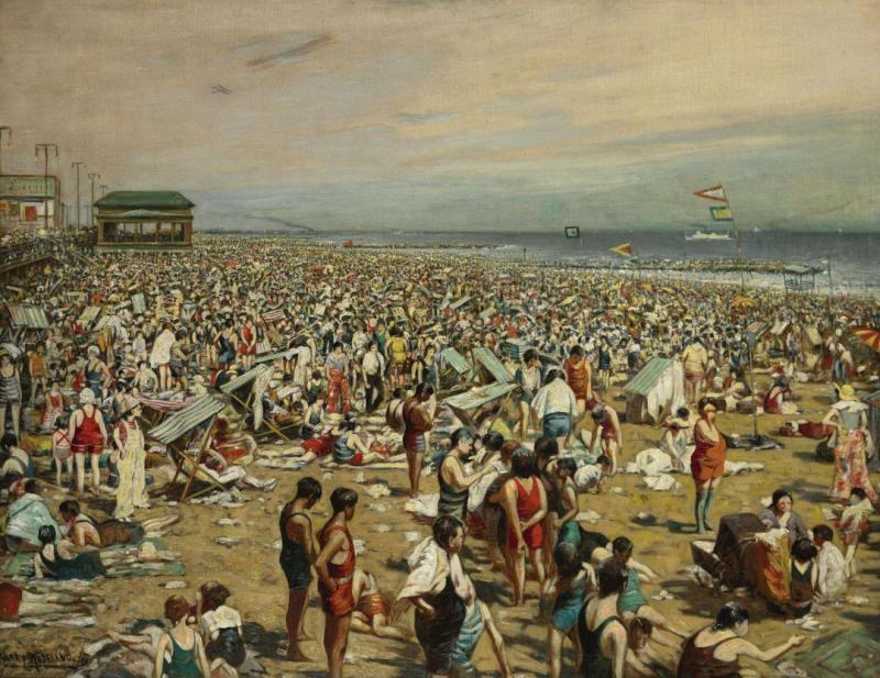 Beach Scene, Coney Island Artwork by Harry Roseland