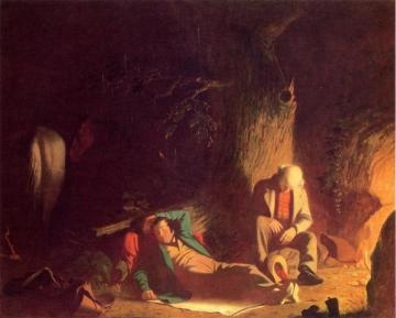 Belated Wayfarers Artwork by George Caleb Bingham