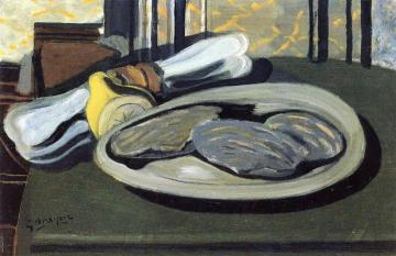 Oysters, Lemon and Napkin Artwork by Georges Braque