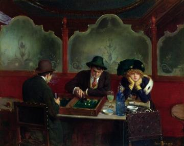 The Backgammon Players Artwork by Jean Georges Beraud