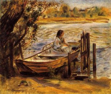 Young Woman in a Boat Artwork by Pierre Auguste Renoir