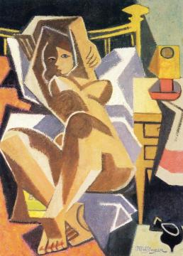Reclining Nude Artwork by Jean Metzinger