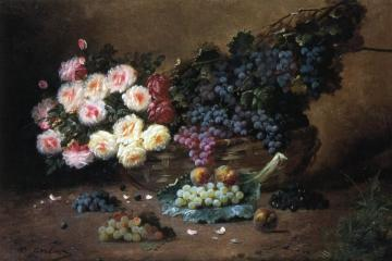 Still Life with Roses and Grapes Artwork by Max Carlier