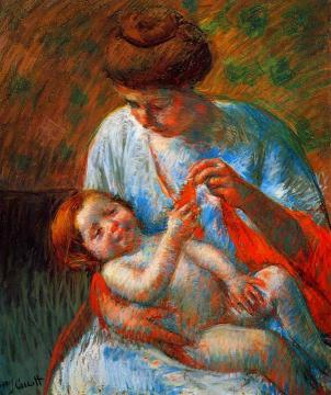 Baby Lying on His Mother's Lap, Reaching to Hold a Scarf Artwork by Mary Cassatt