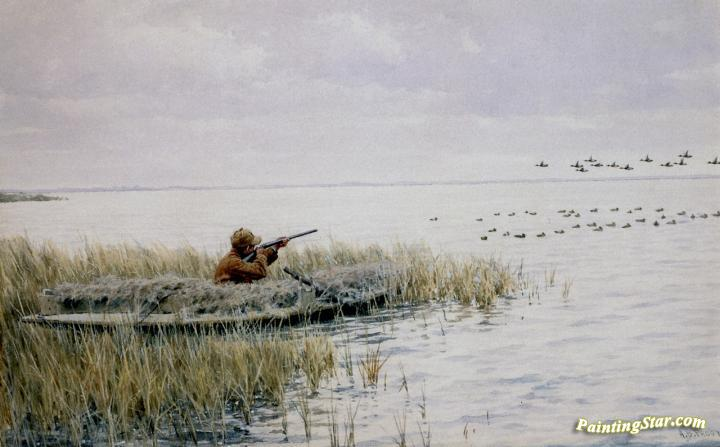 Duck Shooting From A Blind Artwork By Arthur B. Frost Oil Painting ...