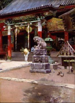 The Temple Court of Fudo Sama at Meguro, Tokyo Artwork by Robert Frederick Blum