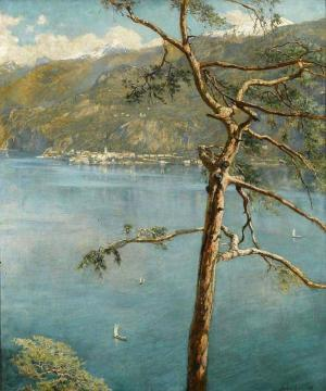 A view across Lake Como Artwork by John Maler Collier