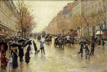 Boulevard Poissonniere in the Rain Artwork by Jean Georges Beraud
