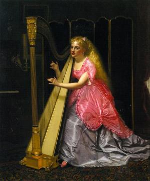 The Harpist Artwork by John George Brown