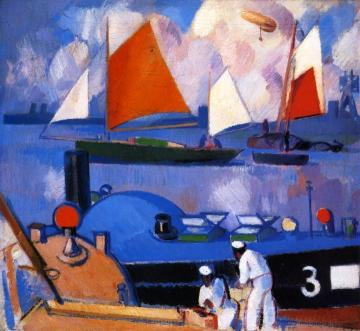 Blue Submarine: Portsmouth Harbour Artwork by John Duncan Fergusson