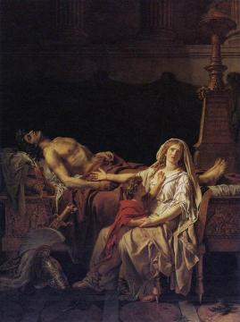 Andromache Mourning Hector Artwork by Jacques Louis David