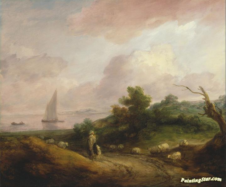 Mountain Landscape and Shepherd Gainsborough Art Poster
