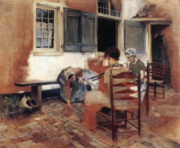 Dutch Courtyard Scene: Study For Venetian Bead Stringers Artwork by Robert Frederick Blum