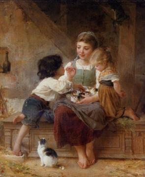 A Happy Family Artwork by Emile Munier