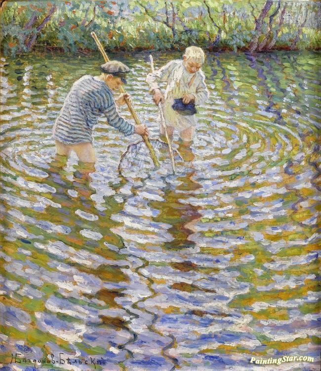 Boys Fishing Artwork by Nikolai Petrovich Bogdanov-belsky