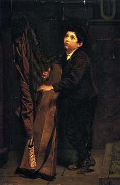 Boy With Harp Artwork by John George Brown
