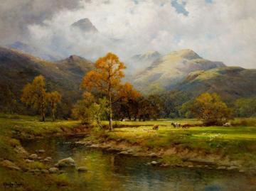 The English Lakes, Autumn in Easedale Artwork by Alfred de Breanski, Sr.