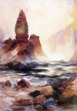Tower Falls and Sulphur Rock, Yellowstone Artwork by Thomas Moran