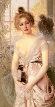 The New Kitten Artwork by Vittorio Matteo Corcos