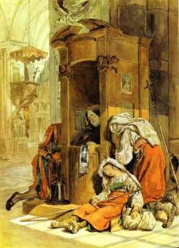 Confession of an Italian Woman Artwork by Karl Pavlovich Bryullov