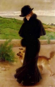 An Elegant Lady With Her Faithful Companion By The Beach Artwork by Vittorio Matteo Corcos