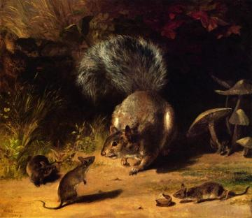 Squirrel and Mice Artwork by William Holbrook Beard