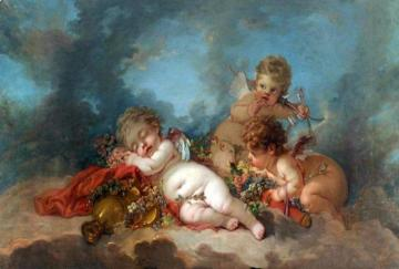 Three Cupids Floating in the Clouds Artwork by Francois Boucher