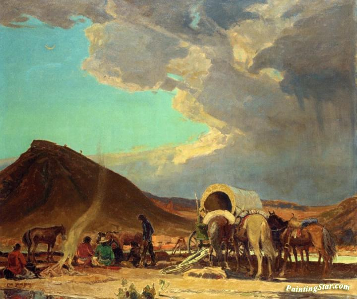 Indian Encampment Artwork By Carl Oscar Borg Oil Painting