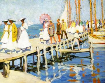 On The Pier, Edgartown Artwork by Jane Peterson