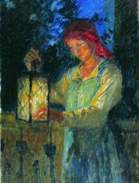 Girl with a Lantern Artwork by Nikolai Petrovich Bogdanov-belsky