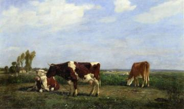 Three Cows in a Meadow Artwork by Eugène-Louis Boudin