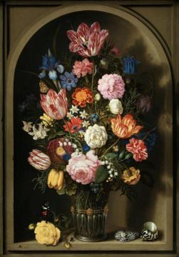 Bouquet of Flowers in a Stone Niche Artwork by Ambrosius Bosschaert