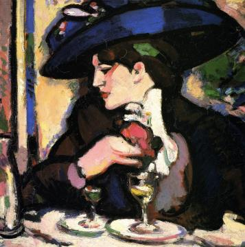 The Blue Hat, Closerie Des Lilas Artwork by John Duncan Fergusson