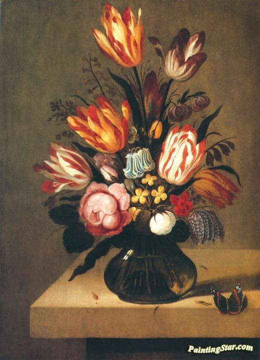 Bouquet of flowers with a butterfly on a stone slab Artwork by Ambrosius Bosschaert