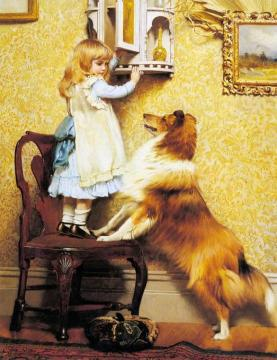 A Little Girl And Her Sheltie Artwork by Charles Burton Barber