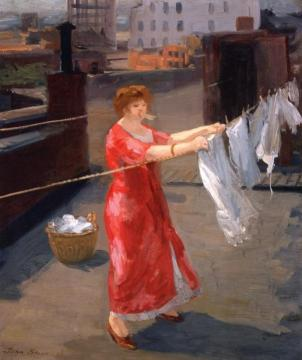 Red Kimono on the Roof Artwork by John Sloan