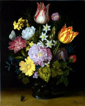 Flowers in a Glass Vase Artwork by Ambrosius Bosschaert
