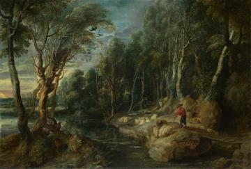 A Shepherd and His Flock in a Woody Landscape Artwork by Peter Paul Rubens