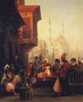 Coffee-house by the Ortaköy Mosque in Constantinople Artwork by Ivan Constantinovich Aivazovsky